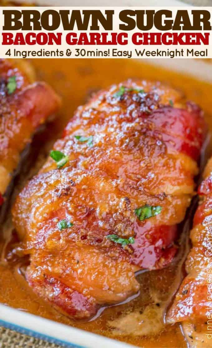 We've made this recipe twice in one week! EASY Bacon Brown Sugar Garlic Chicken with just 4 ingredients!