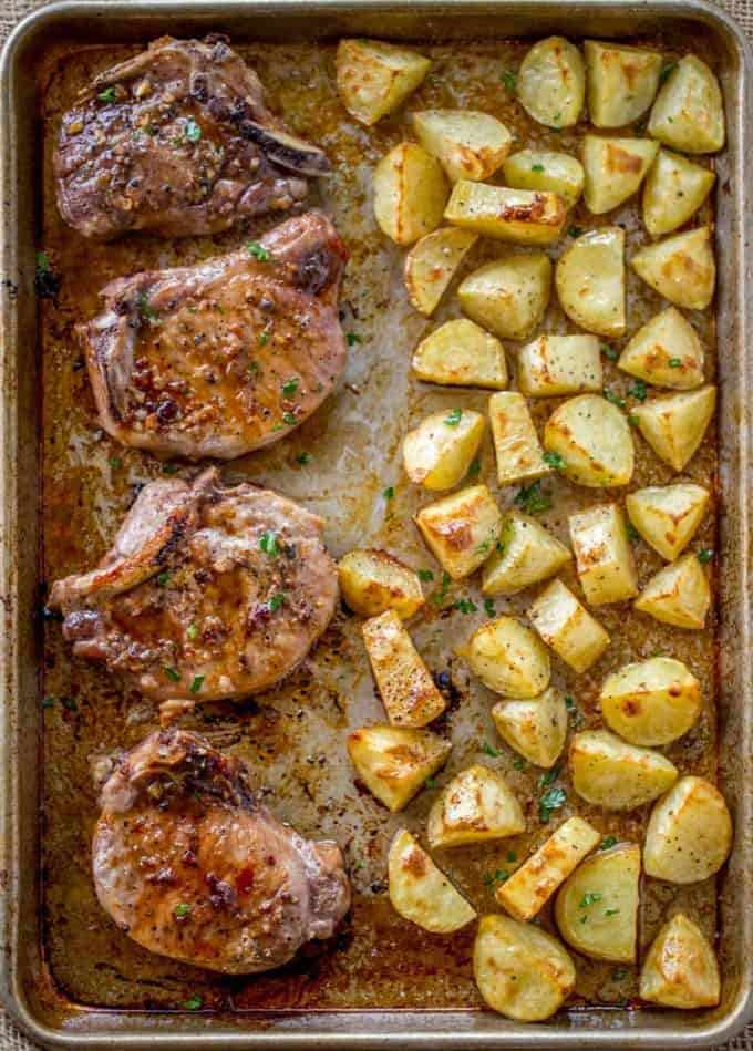 Easy Oven Baked Pork Chops Made On A Sheet Pan In Just 5 Minutes Of Prep
