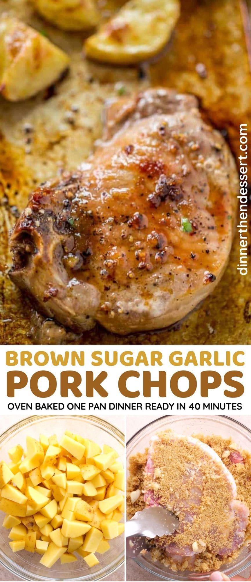Brown Sugar Garlic Pork Chops collage