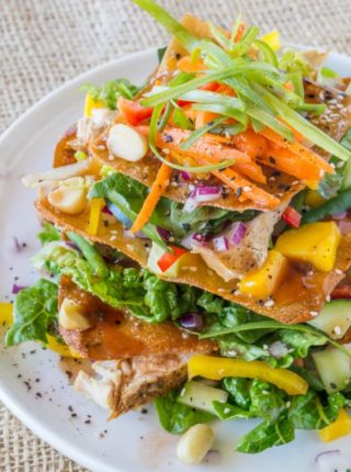 Cheesecake Factory Luau Salad with an Asian Balsamic Vinaigrette, crunchy wonton sheets, vegetables and macadamia nuts, this recipe is a perfect copycat!