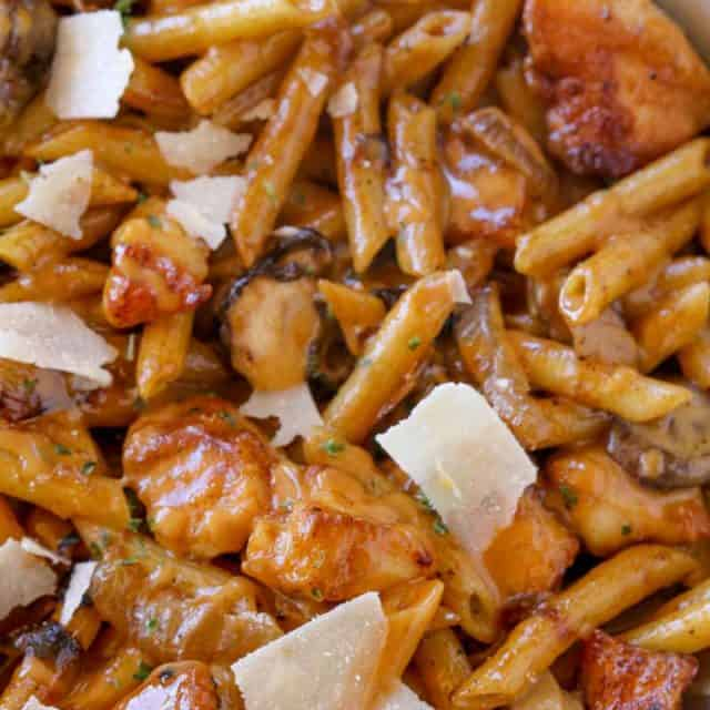 Cheesecake Factory Pasta Da Vinci?with chicken and mushrooms in a creamy madeira wine sauce with Parmesan cheese. A perfect copycat of one of the most popular pastas on the menu!
