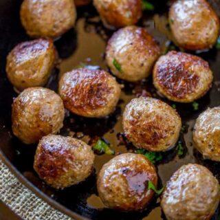 Homemade Meatballs in large skillet