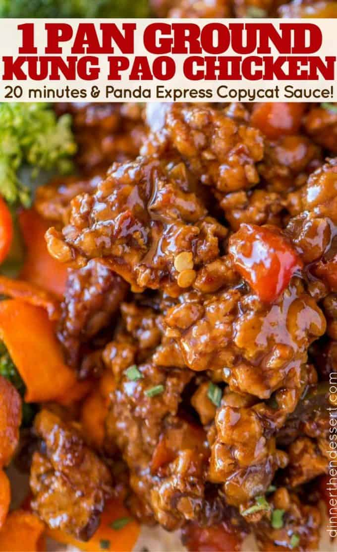 20 minutes to make this Ground Kung Pao Chicken with Panda Express Copycat Sauce!