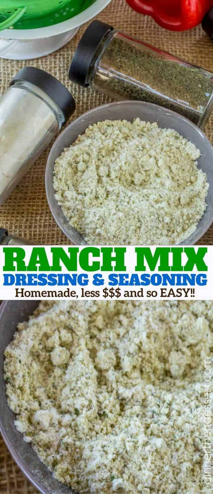 Homemade Ranch Dressing Mix without artificial ingredients and much less sodium! Easy to make and saves money over Hidden Valley Ranch seasoning packets!