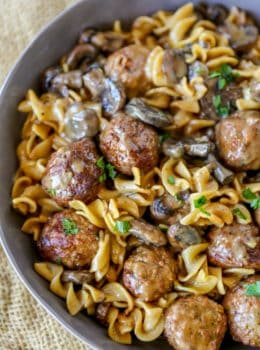 Quick and EASY Meatball Stroganoff in just 30 minutes with a creamy sour cream mushroom gravy, egg noodles and meatballs, it's the perfect weeknight meal!