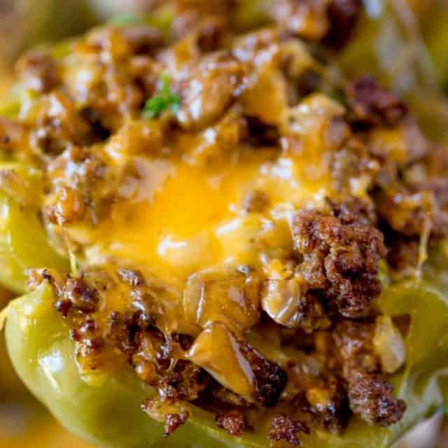 Philly Cheesesteak Stuffed Peppers with all the classic cheesesteak flavors of beef, onions, peppers and cheese.