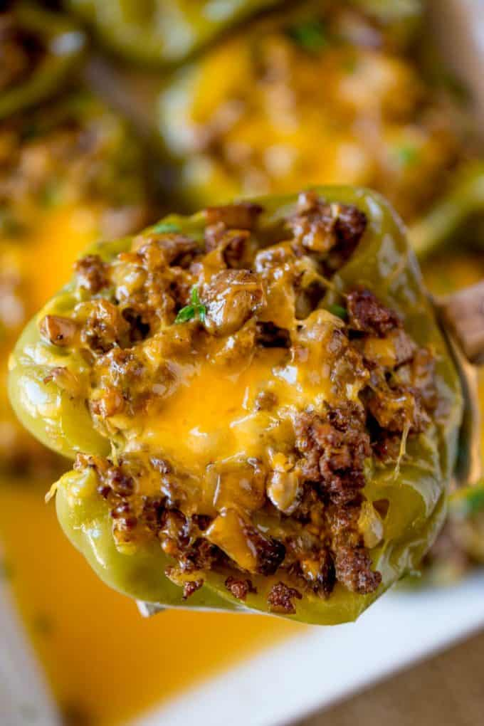 You can meal prep these Philly Cheesesteak Stuffed Peppers and bake them off on busy weeknights for a quick, healthy meal!