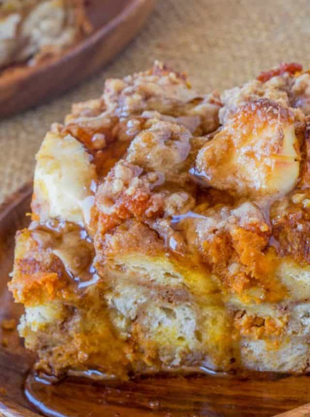 Pumpkin French Toast Bake with cream cheese filling and no overnight chilling and is the perfect brunch recipe that's part french toast, part cheesecake.