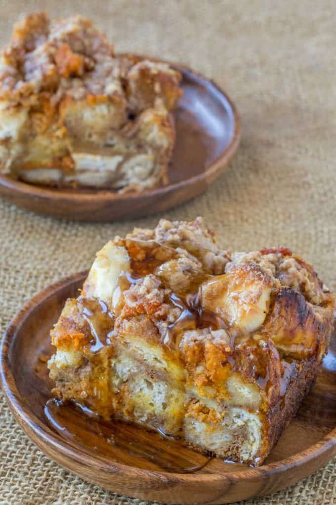 Pumpkin Cream Cheese French Toast Bake is the easiest breakfast casserole ever.