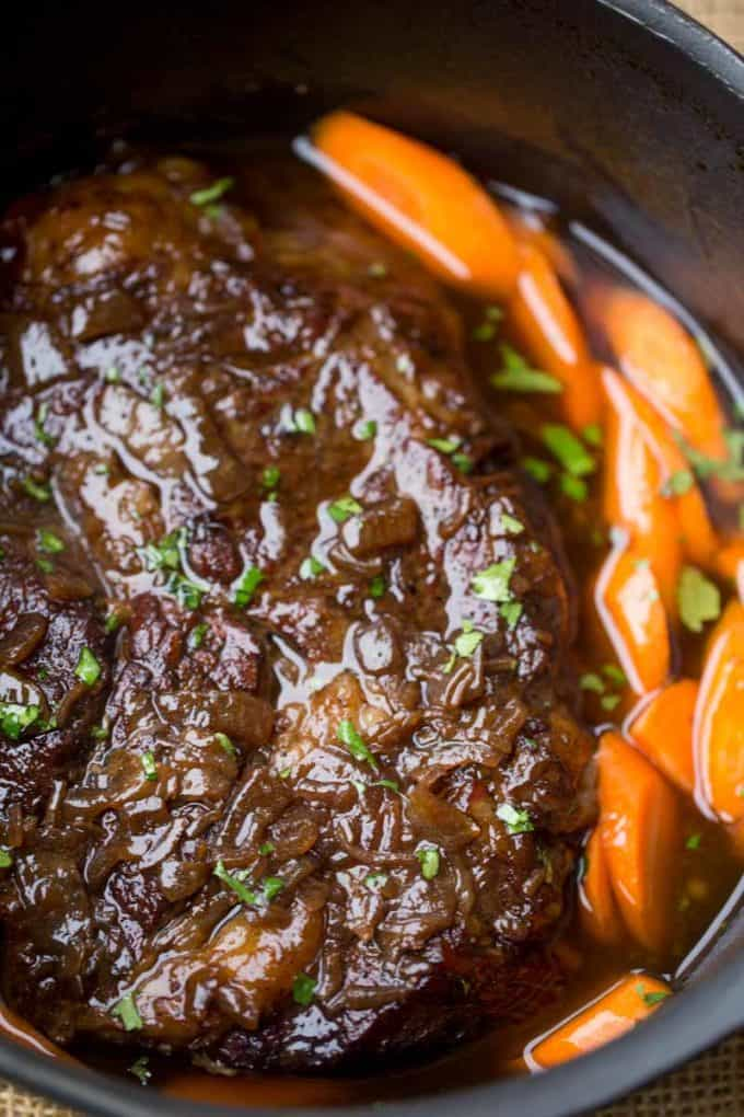 Slow Cooker Balsamic Pot Roast Dinner Then Dessert