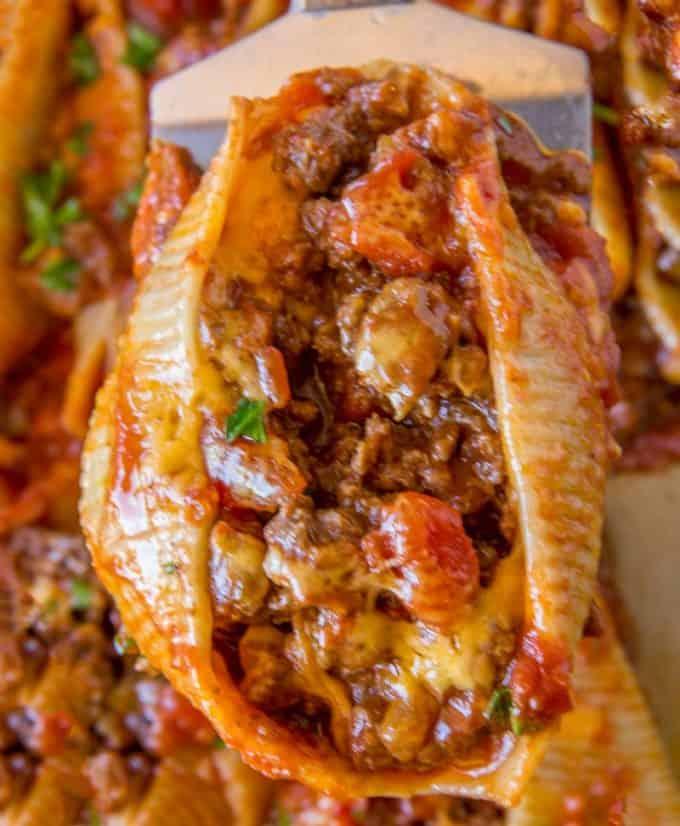 Cheesy Taco Stuffed Shells - Dinner, then Dessert