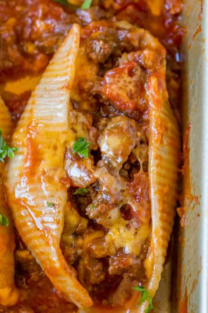 Cheesy Taco Stuffed Shells - Dinner, then Dessert