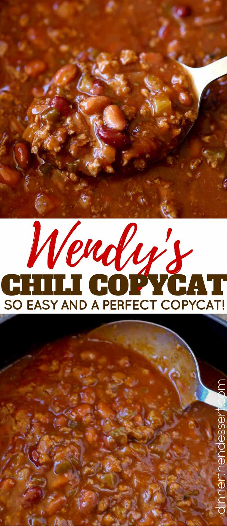 Wendy's Chili copycat made with kidney beans, onions, chilis, bell peppers and tomatoes with a spicy chili powder and cumin spices. Taste like a perfect copycat!