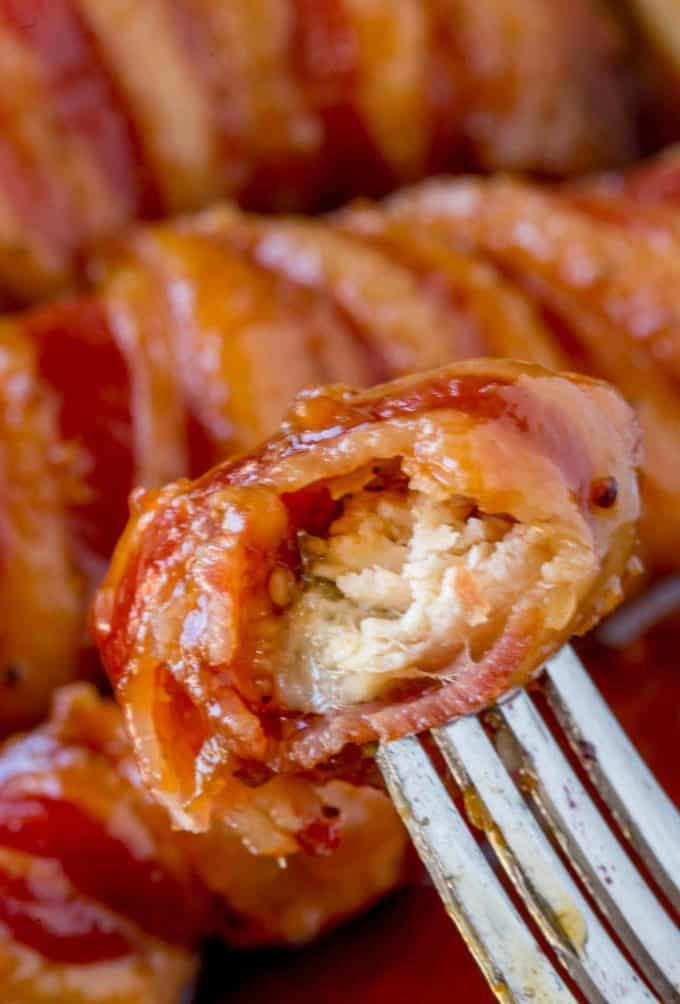 Crispy, sweet, sticky and BACON. Bacon Brown Sugar Chicken Tenders