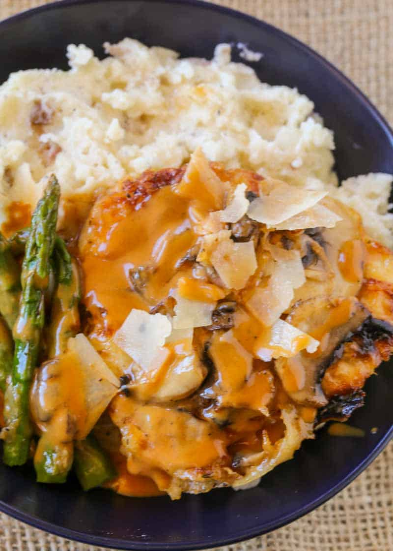 Cheesecake Factory's most popular chicken dish! Chicken, mushrooms, asparagus, cheese and a buttery madeira wine sauce. Perfect copycat!