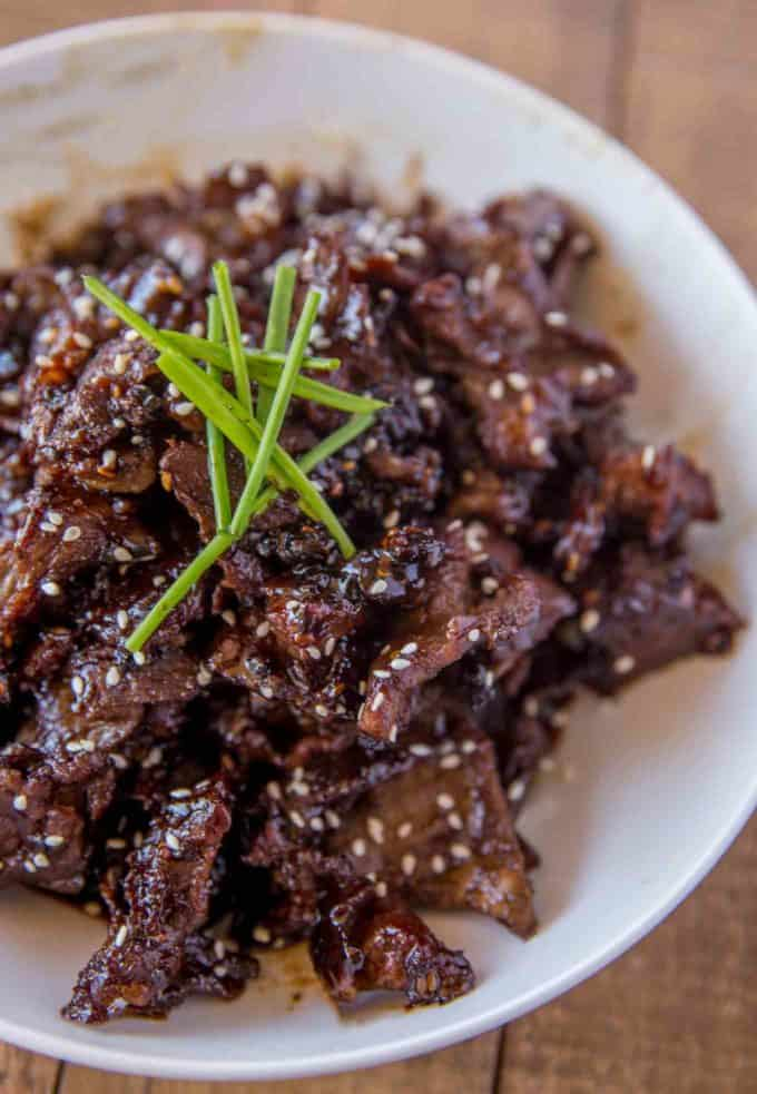 Crispy Orange Beef made with crispy, tender slices of steak coated in an orange garlic-ginger sauce in just 30 minutes!