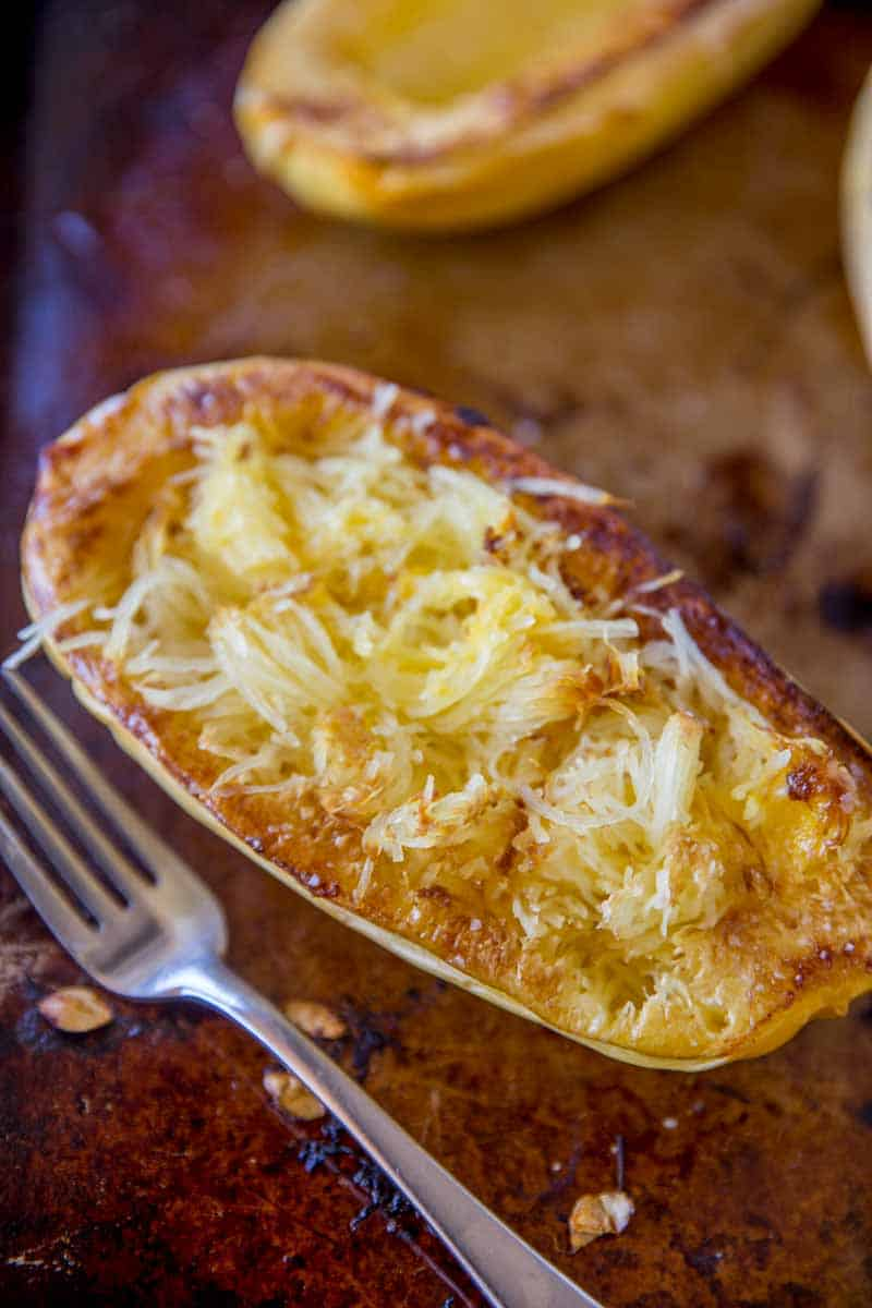 Baked spaghetti squash ready to eat