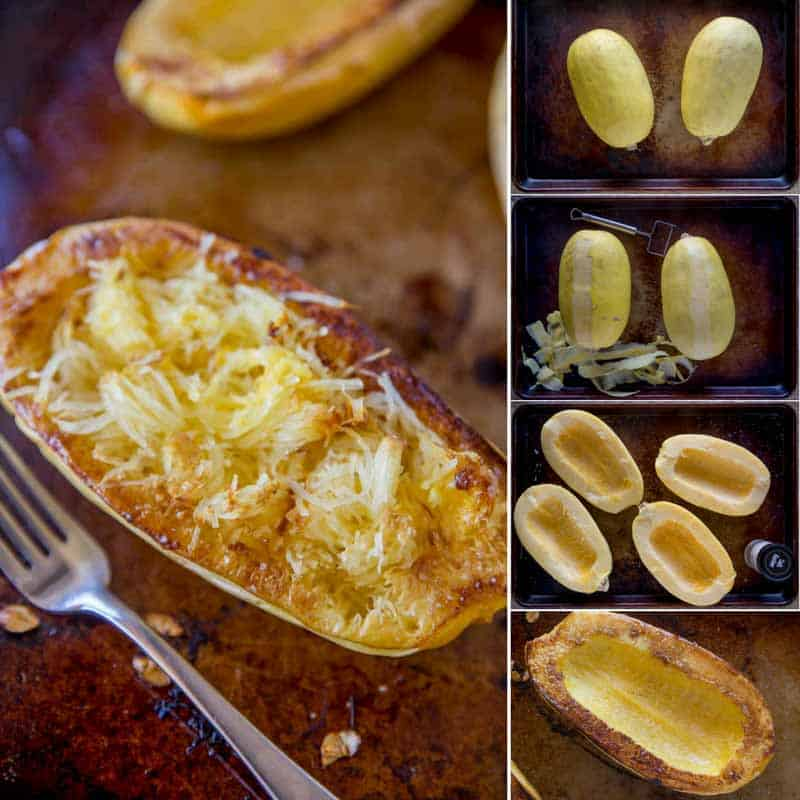 How to clean, cut, prepare and cook spaghetti squash in the oven (baked and roasted) and microwave!