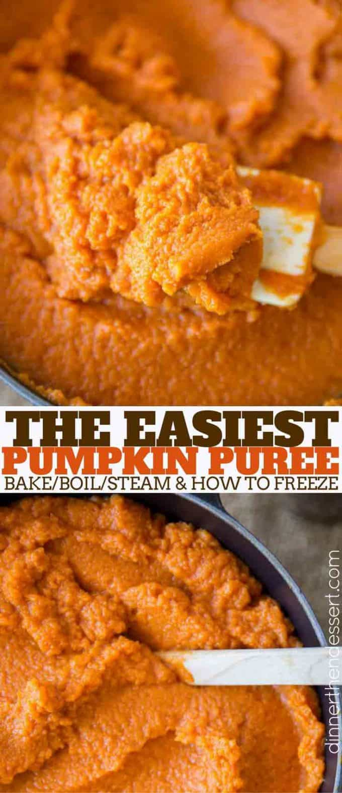 Homemade Pumpkin Puree is an easy way to use up all your Halloween pumpkins and it tastes so much better than canned pumpkin.