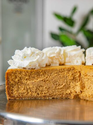 Pumpkin Cheesecake on Cake Stand
