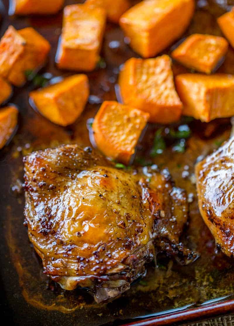 Sheet Pan Baked Balsamic Chicken with Sweet Potatoes in 30 minutes.
