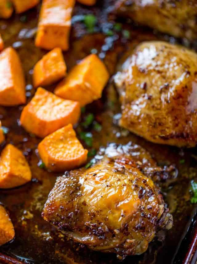Sheet Pan Balsamic Chicken with Roasted Sweet Potatoes is the perfect fall weeknight dinner you'll love and won't feel guilty eating in just 30 minutes!