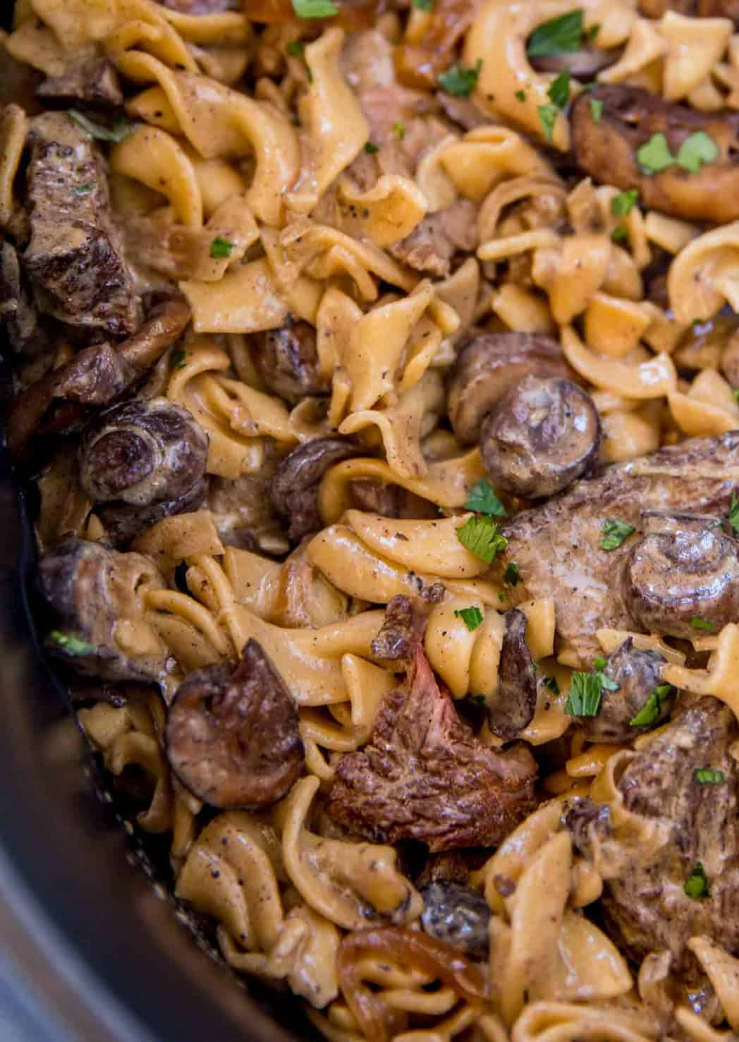 slow cooker beef stroganoff with flavor-infused egg noddles