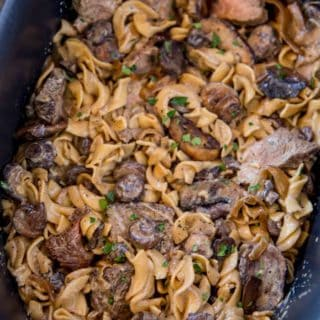 crockpot stroganoff with tender beef chunks and egg noodles