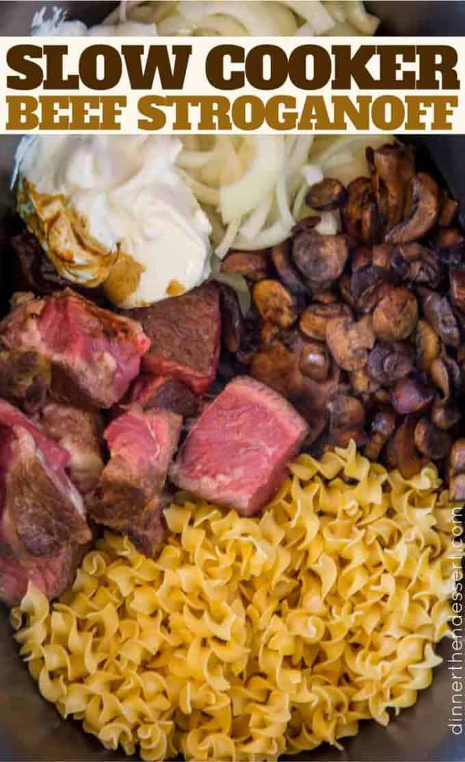 Make your entire Slow Cooker Beef Stroganoff in the slow cooker with creamy mushroom sauce and super TENDER beef.