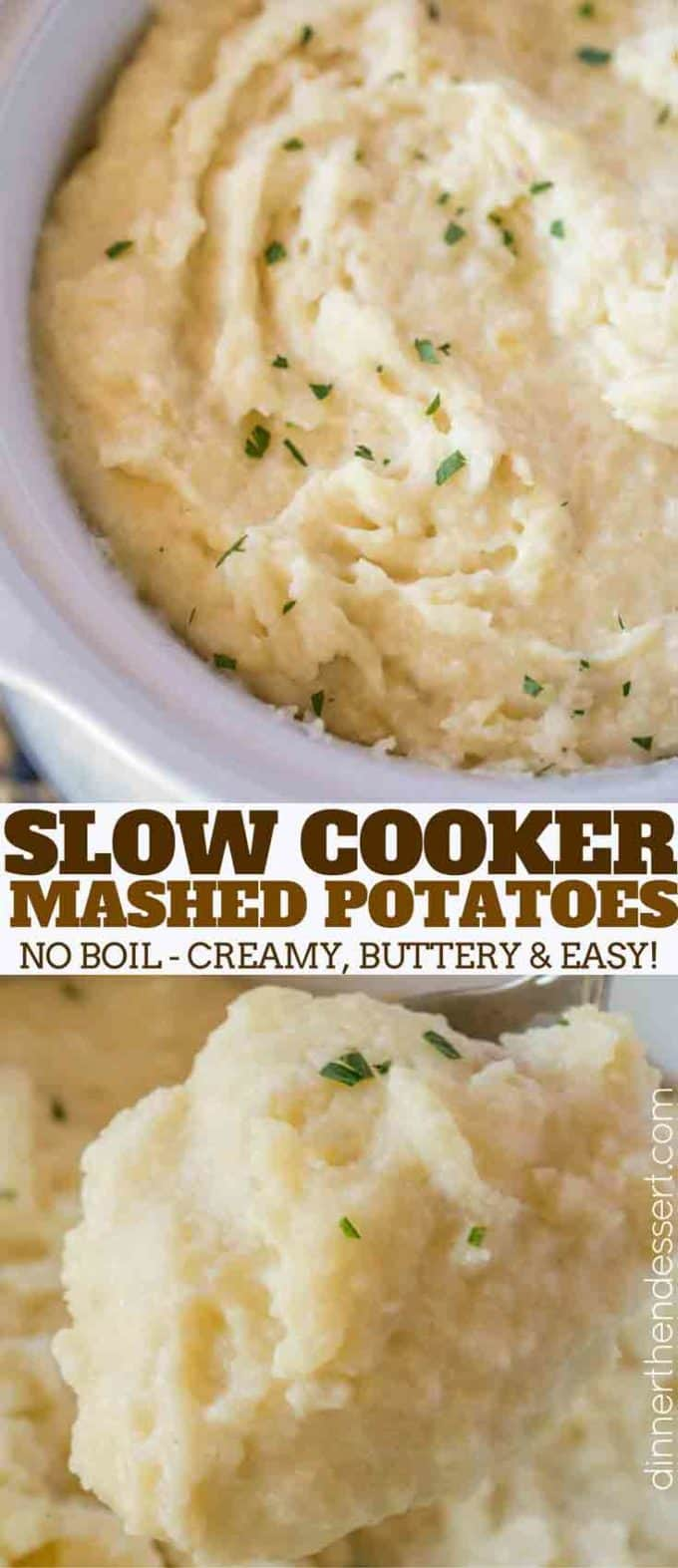 #SlowCooker #MashedPotatoes are an easy side dish (with no boiling required!) that you can make for the holidays and keep warm on the buffet without drying out!