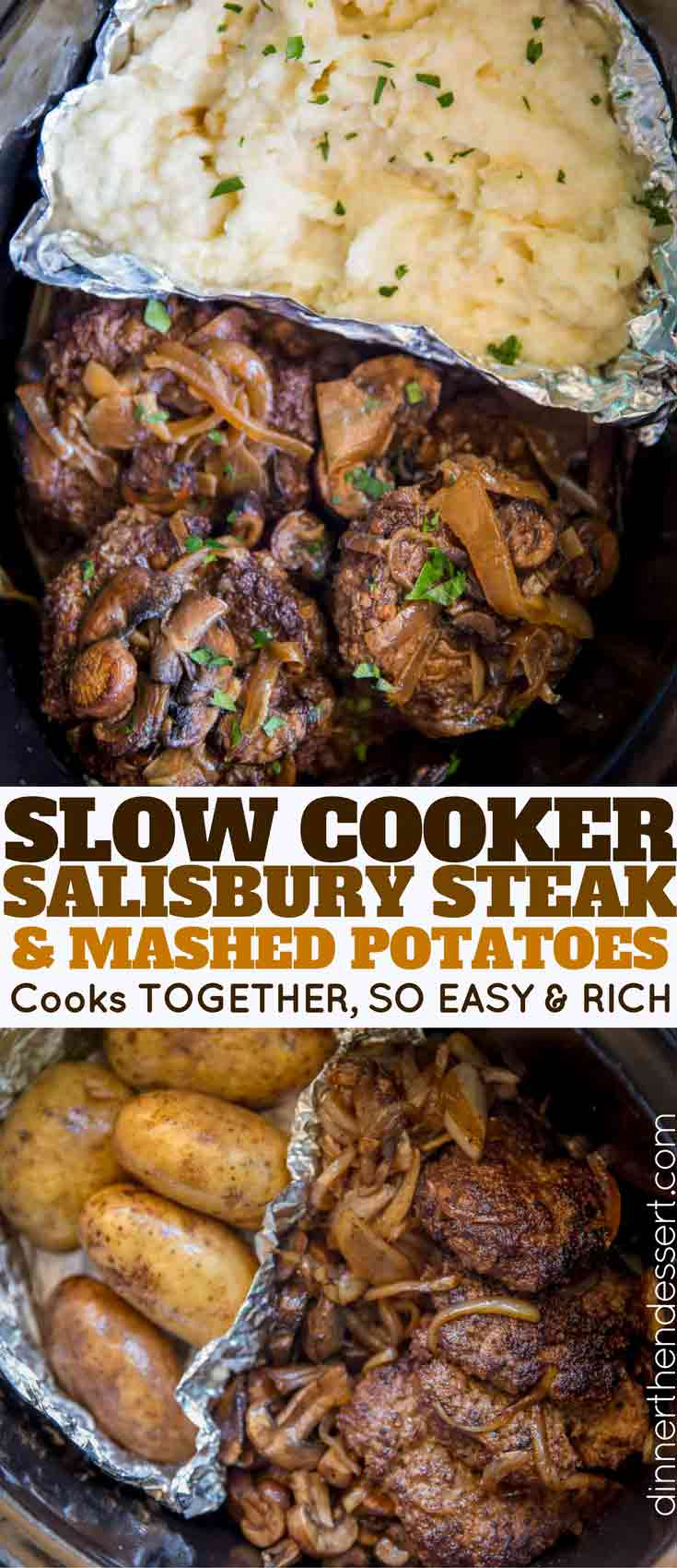 Slow Cooker Salisbury Steak and Mashed Potatoes in a SINGLE slow cooker with mashed potatoes, rich gravy, mushrooms and onions over tender beef patties.