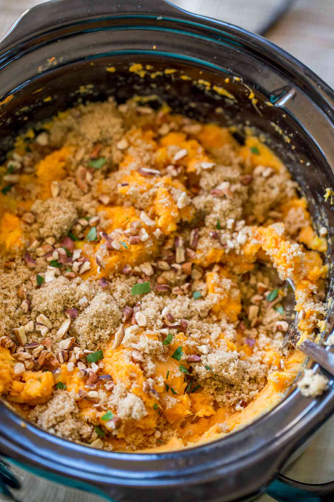 Slow Cooker Sweet Potato Casserole with just a handful of ingredients you'll have a creamy sweet potato side dish with almost no effort and no oven space used!