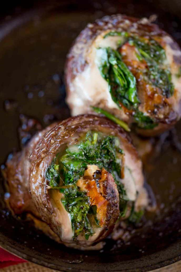 Delicious stuffed flank steak in just 30 minutes made in a cast iron skillet.