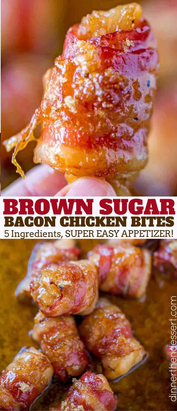 Bacon Brown Sugar Chicken Bites Dinner Then Dessert