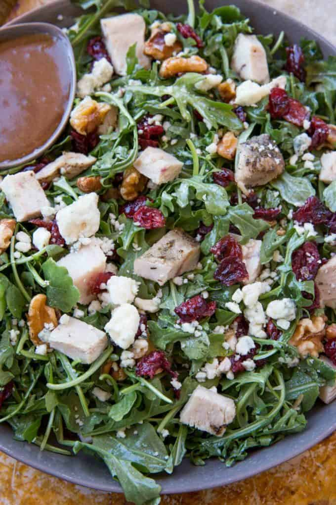 A super easy fall salad with turkey, cranberries, gorgonzola cheese and more, this Cranberry Harvest Turkey Salad is a delicious light meal.