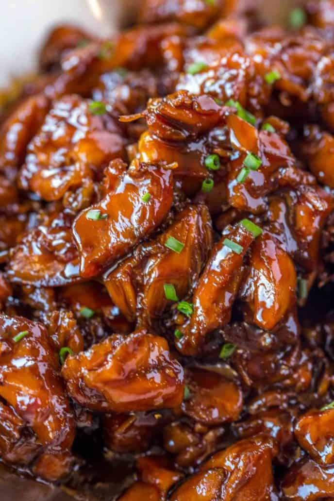 Easy Bourbon Chicken that's crispy, sweet, sticky and tastes just like the kind you grew up eating at the mall!