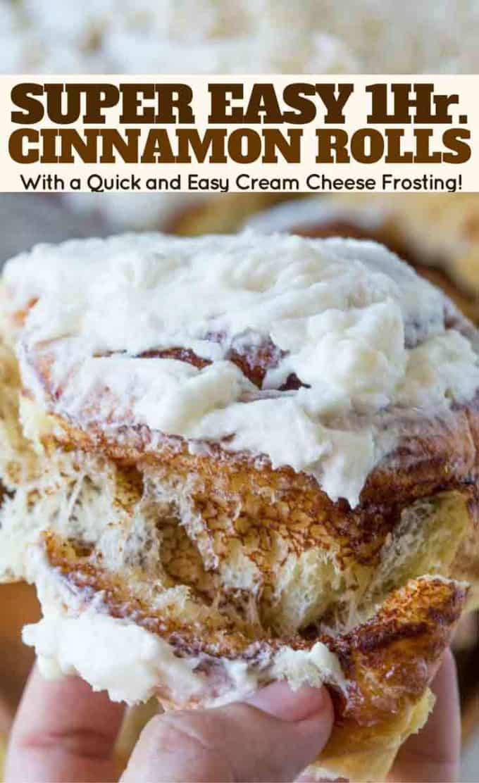 Delicious, giant, fluffy cinnamon rolls made in just one hour.