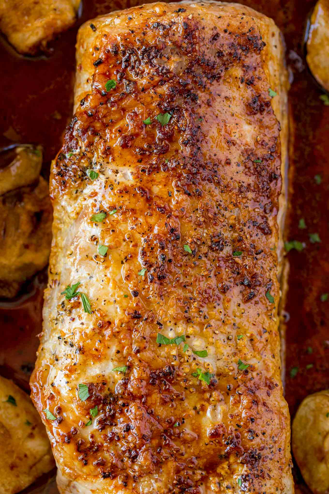 Super crispy topping that is really flavorful, this pork loin roast is a super easy dinner option.