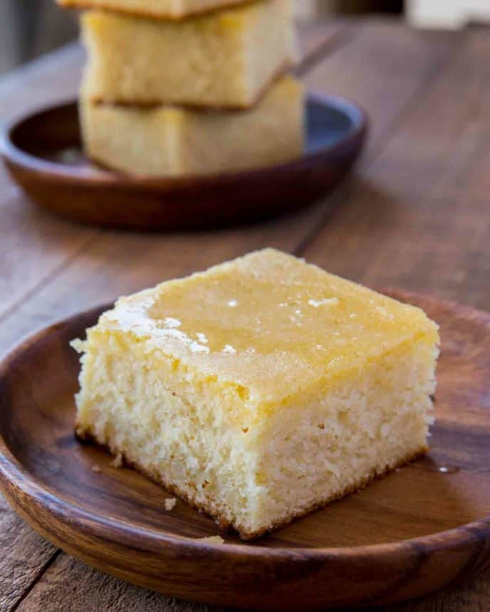 piece of homemade cornbread made from southern cornbread recipe