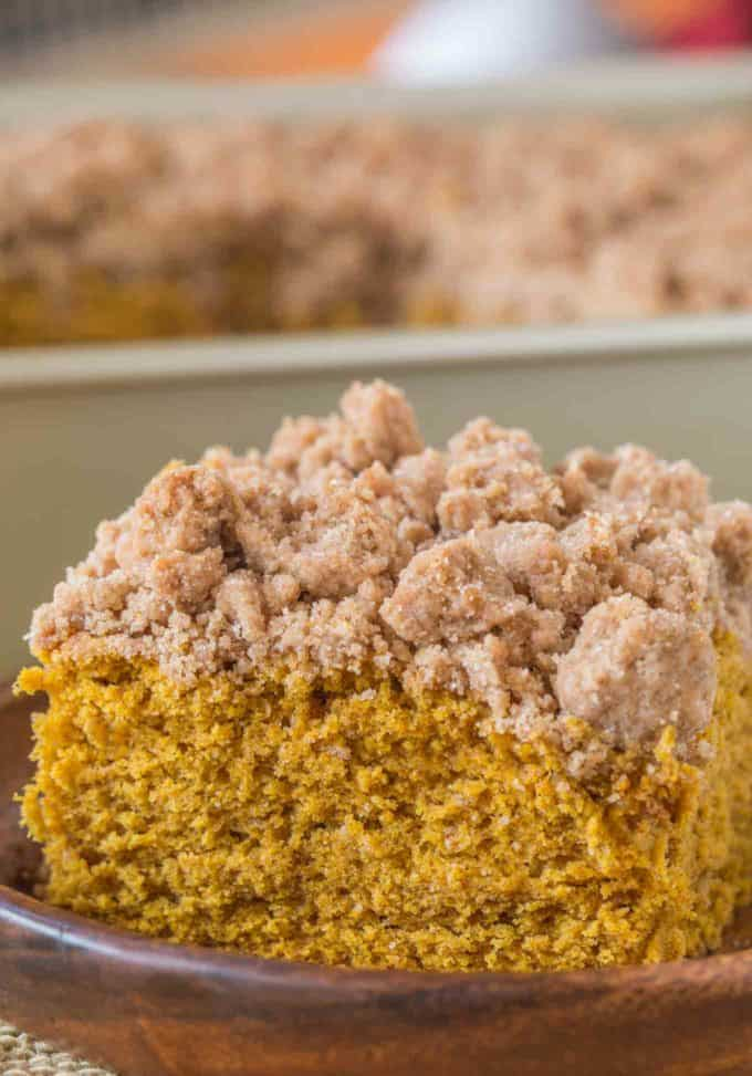 Tender, moist and with a crumbly buttery topping, this Pumpkin Crumb Cake is bakery worthy!