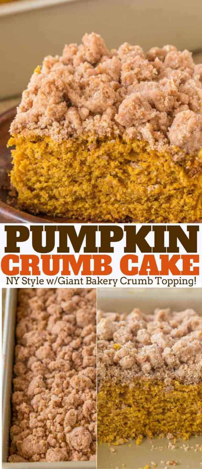 Pumpkin Crumb Cake with a New York Bakery Style giant brown sugar crumble topping is a fall bakery treat you'll enjoy for breakfasts all winter long. #pumpkin #crumbcake #recipe #coffeecake dinnerthendessert.com