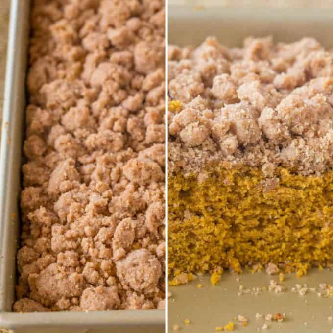 Pumpkin Crumb Cake with an amazing bakery style crumb topping and it is easy to make!