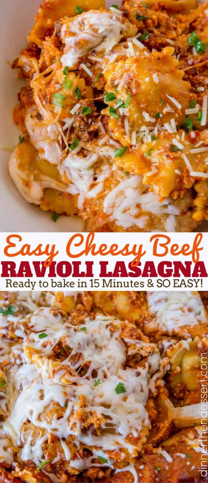 Easy Ravioli Lasagna Bake with three cheeses and ground beef is an easy weeknight meal you can prep ahead that tastes like lasagna with half the effort! #cheese #pasta #ravioli #lasagna #casserole