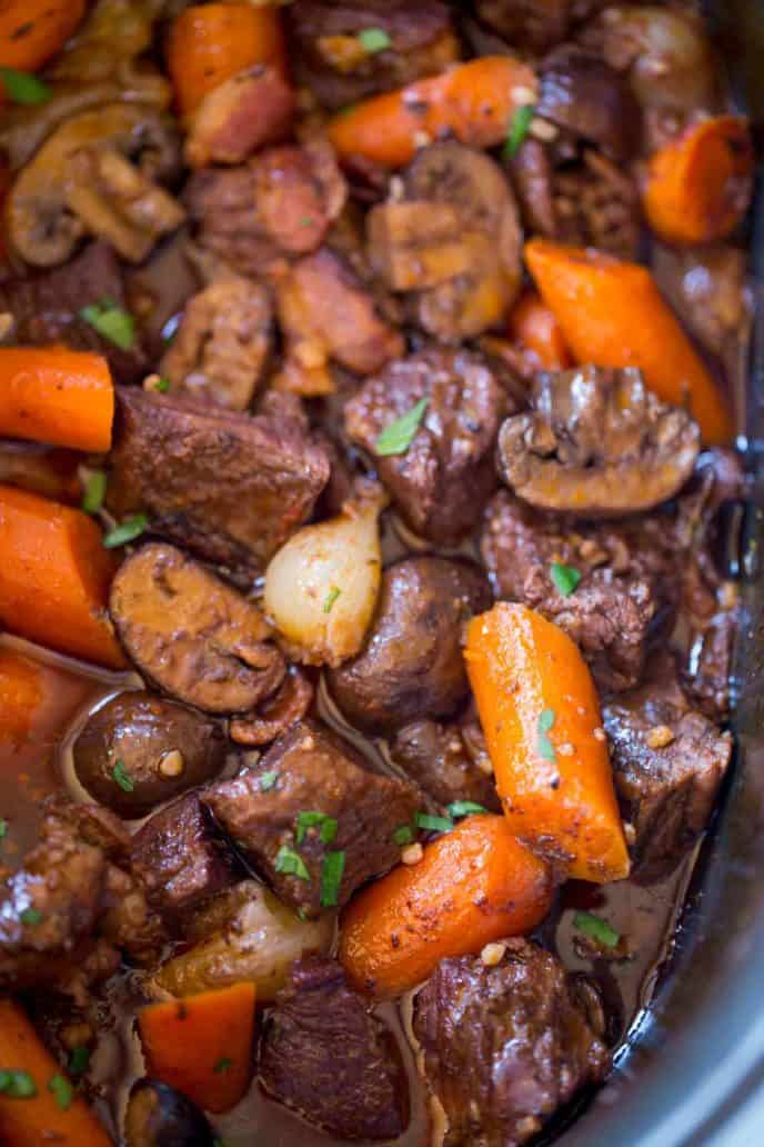 Slow Cooker Beef Bourguignon Dinner Then Dessert