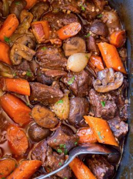 The EASIEST Slow Cooker Beef Bourguignon with all the delicious classic French flavors at a fraction of the work! An easy WEEKNIGHT meal.