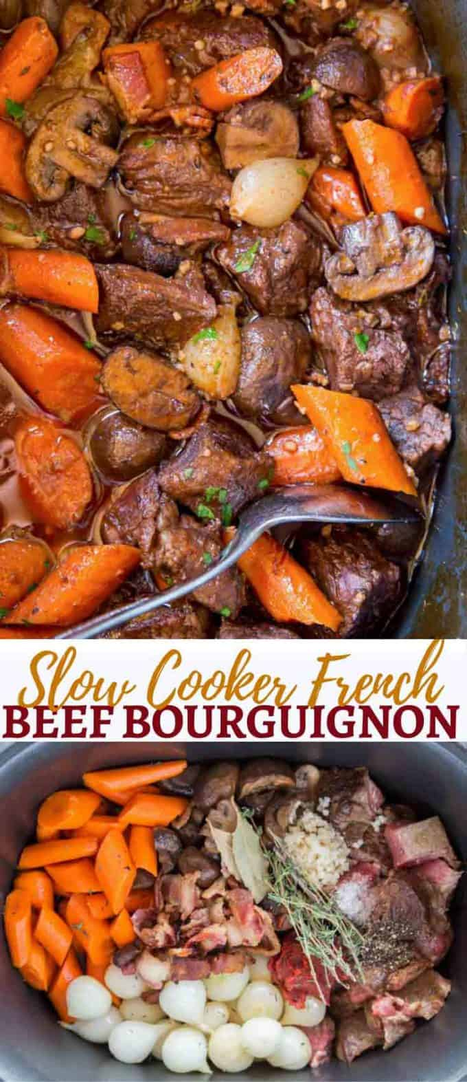 Slow Cooker Beef Bourguignon with all the delicious classic French flavors of beef, red wine, mushrooms and bacon made in your slow cooker.