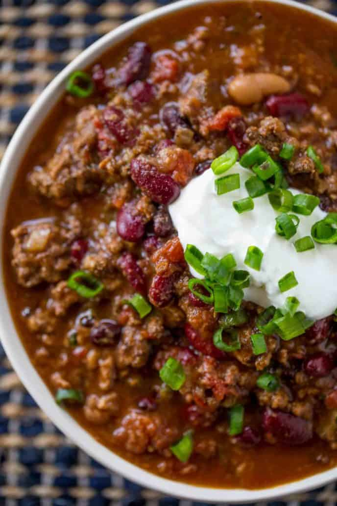 Slow Cooker Beef Chili Crockpot Chili Dinner Then Dessert