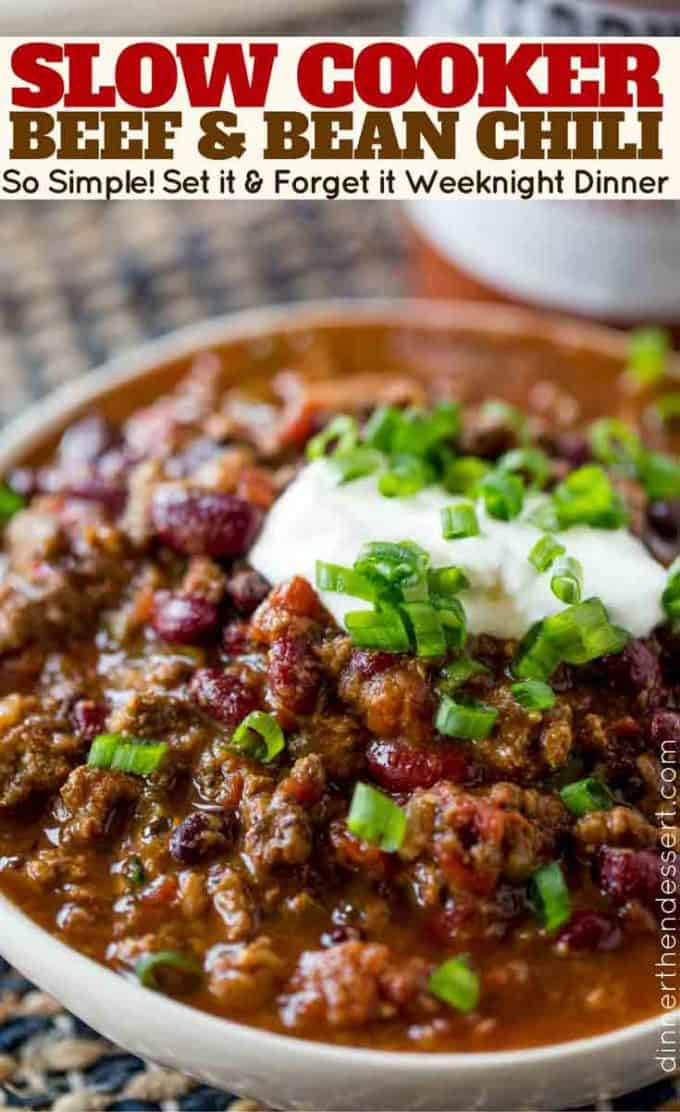 RICH, HEARTY, thick beef stew with chili powder, beef, onions, tomatoes and more simmered low and slow for chili perfection!