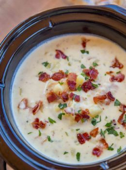 Slow Cooker Clam Chowder is so easy to make with a deliciously creamy, briny flavor mixed with smoky crispy bits of bacon and rich buttery yukon potatoes.
