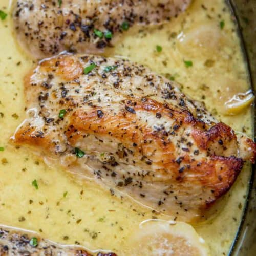 Slow Cooker Creamy Lemon Chicken with butter, garlic and lemon coating tender chicken breasts in a creamy sauce. Even great as a pasta topping!?